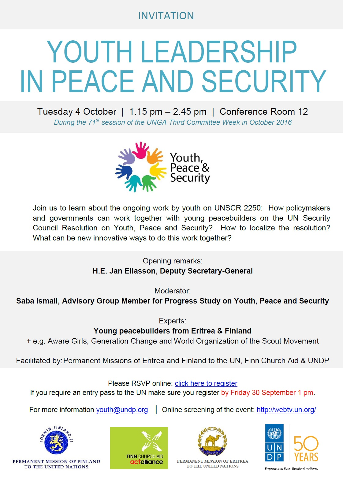 2016.10.04 - Invitation - Youth Leadership in Peace and Security